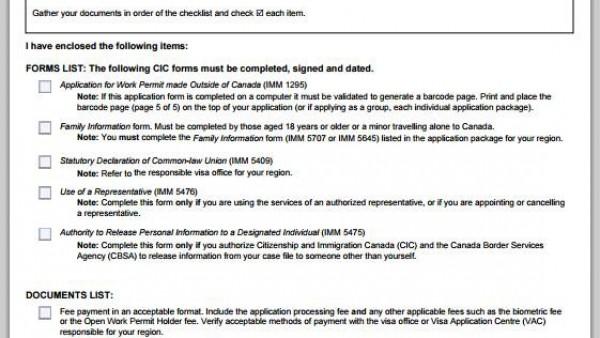 工作签证材料清单列表 IMM5488